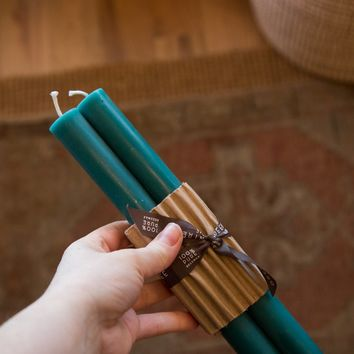 Made in NY Beeswax Candle Tapers Turquoise