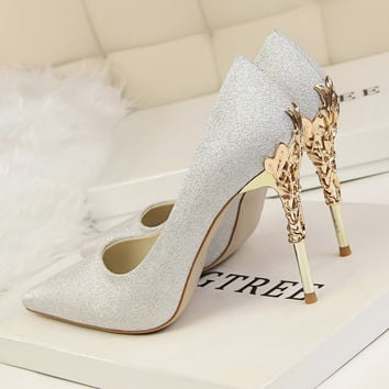 New Arrival Shoes Woman Wedding Shoes High-heeled Metal Heels Elegant Pointed Toe Thin Heel Sexy Women's Pumps