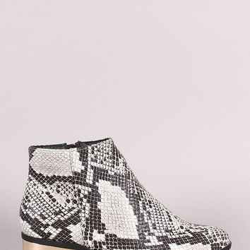 Bamboo Snakeskin Almond Toe Metallic Heeled Ankle Booties