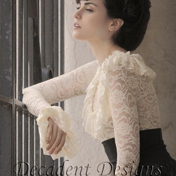 Victorian Lace Ruffle Top cream or blackMade to by decadentdesignz