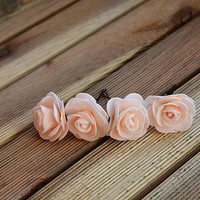 Peach rose  flower hair clip, wedding hair clip, bridal hair clip, Pink flowers Wedding clip, wedding hair accessories, Bridesmaid Hair