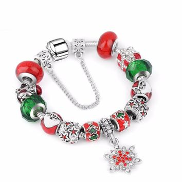 2018 Drop Shipping Christmas Charm Bracelet Tibetan Silver Murano Glass For Women Fashion European Style Jewelry
