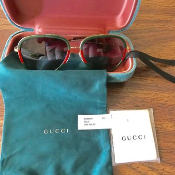 Gucci Women Aviator Sunglasses GG0062S 003 Gold/Green Gradient Lens 57mm