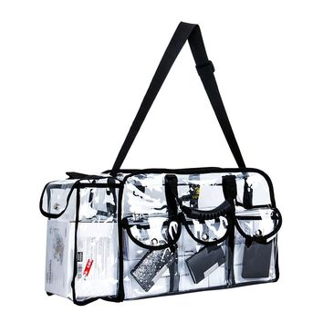 Makeup Bag Clear Travel Cosmetics Set Bag Transparent PVC Toiletry Bag Organizer with 6 External Pockets and 1 Large Side Pocket Removable