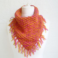 Hand Knitted Cowl, Infinity Scarf, Pink Yellow Neckerchief, Women's Accessories, Chunky Acrylic, Clickclackknits