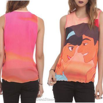 Licensed cool Disney Princess Jasmine & Aladdin Kiss the Girls Tank Top Blouse Shirt JR Small