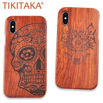 Retro Carving Embossed Wood Case For iphone X 8 7 6 6s Plus SE 5 5s Samsung Galaxy Note 8 7 5 S6 S7 edge Plus S5 Real Wood Cover