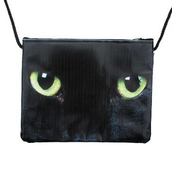 Black Kitty Cat With Green Eyes Print Rectangular Shaped Cross Body Bag