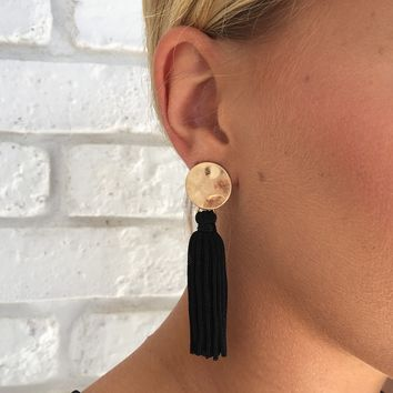 Sing It Fringe Earrings in Black