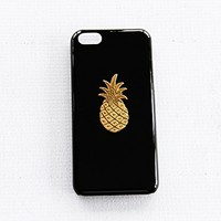 Snap On Plain Black iPhone 5c Apple Case Cover Protector Gold Pineapple Fruit Hard Plastic