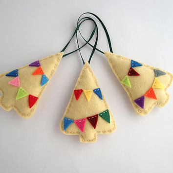Christmas tree decorations - Felt Christmas ornaments in beige with colorful bunting - Set of three 3