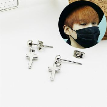 Youpop KPOP BTS Bangtan Boys Album Cross Earrings Korea Fashion Jewelry Accessories For Men Women Boy Girl Stud Earrings FR025