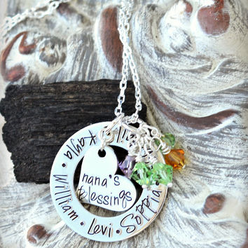 Personalized Necklace, Nana Necklace, gift for nana from grandchildren -  kid names on washer with heart silver necklace shop pendant