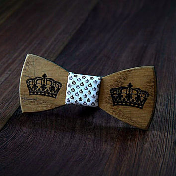 FREE SHIPPING till 15th October!! Crown wooden bow tie. Handicraft unique men accessory.Manly gift. #JVbowtie