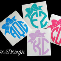 Bow Vinyl Personalized Monogram Decal Sticker - Circle Monogram - DIY - Great for car Window, laptop, cell phone, binder, mason jars