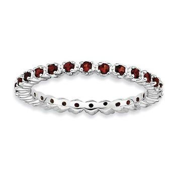 Sterling Silver Stackable Expressions Garnet Eternity Ring