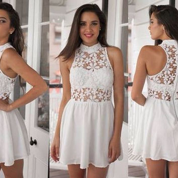 White Halter Lace Chiffon Cute Homecoming Dress