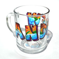 Personalized gift - Custom hand painted mug - YOUR NAME cup - Unique Artistic Gift - Dinner - Parties- cup
