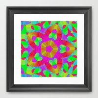 Retro 70s Style Rainbow Abstract Framed Art Print by pugmom4