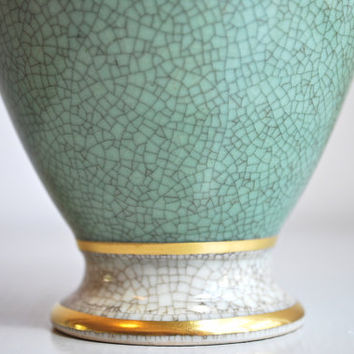 Mid Century Royal Copenhagen Vase with Beautiful Green Grey Craquelure Finish