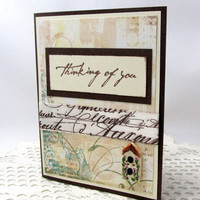 Thinking of You Card - Any Occasion Card - Birdhouse Card - French Vintage Style Card - Ivory and Brown Card - Blank Card