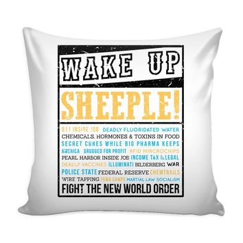 Conspiracy Theory Graphic Pillow Cover Fight The New World Order