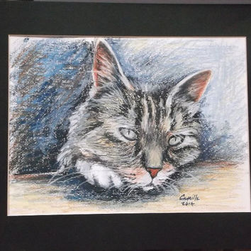 "Minature Manx Cat Oil Pastel Drawing - Original Drawing Matted to 12"" x 16"" READY to SHIP"