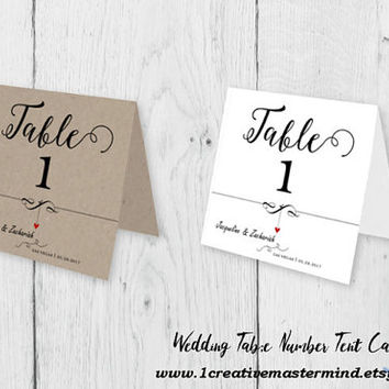 DIY Rustic Wedding Table Number Tent Card Template, Editable Printable,  PDF Instant Download, Digital, Kraft  Dangling Heart #1CM83-1