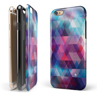 Vector Triangle Pink and Blue Galaxy iPhone 6/6s or 6/6s Plus 2-Piece Hybrid INK-Fuzed Case
