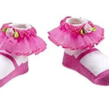 Ganz Easter Valentine's Day Newborn Infant Baby Girl Pink Ruffle Socks (0-12 Months)