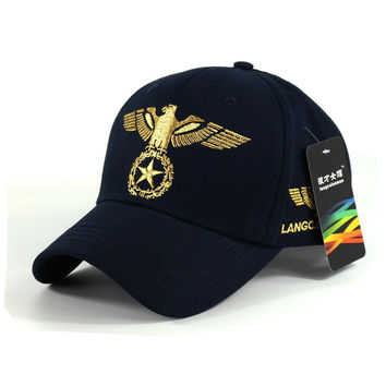 Navy Blue Eagle Star Embroidered Baseball Cap Hat