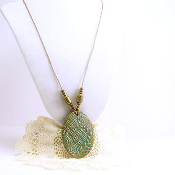 Patina Pendant - Polymer Clay Jewelry Necklace - Boho Necklace - For Women - Antique Inspired Necklace- Turquoise Pendant- Artisan Handmade
