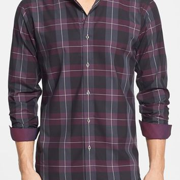 Men's Bugatchi Shaped Fit Check Sport Shirt