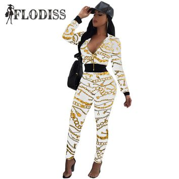 FLODISS Gold Chain Print Tracksuit 2017 Winter Women Crop Top+Skinny Pants 2 Piece Set Outfit Sporting Sweatsuit