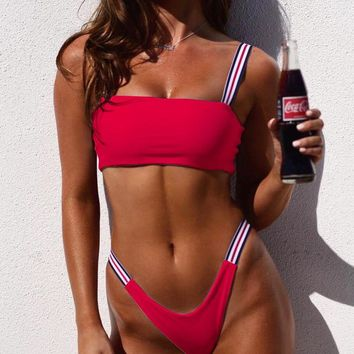 Hot Sale Summer Women Sexy Pure Color Two Piece Bikini Swimsuit Red