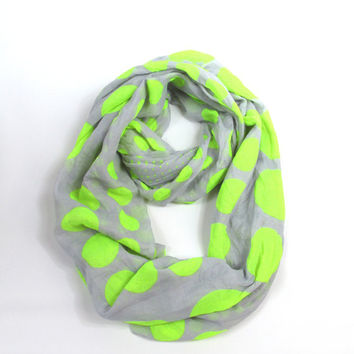 Polka dots neon infinity scarf multi circle loop scarf chunky spring scarf crinkled scarf in Gray Neon Green