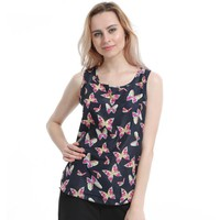 Butterfly Print Sleeveless Tees - Women's Crew Neck Tank Top