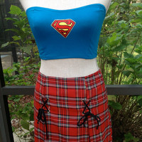 Superman Patch Bandeau Top White Hipster Cropped Midriff Top Stretchy //SUZNEWS Etsy Store//
