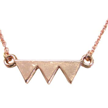 Rose Gold Toned Geometric Three Triangle Design Pendant Necklace