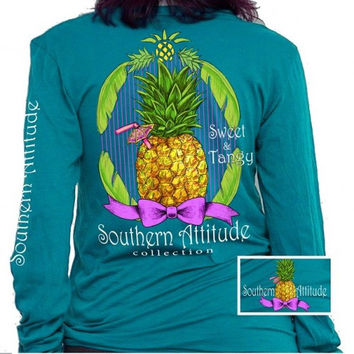 Southern Attitude Preppy Sweet Pineapple Sapphire Long Sleeve T-Shirt