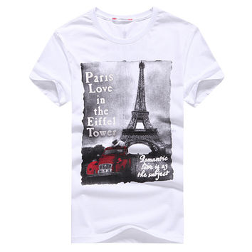 Summer style New  Men Cotton tops tees Clothing Male T-shirt