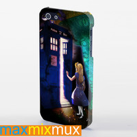 Alice Wonderland On Tardis iPhone 4/4S, 5/5S, 5C Series Full Wrap Case