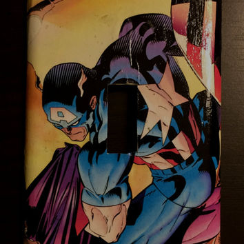 Artimorean-Made Vintage Marvel's The Avengers Captain America Decoupaged Wall Plate - Art by Andy Kubert!