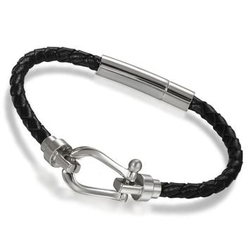 SHIPS FROM USA Wrap Bracelets Stainless Steel Black Leather Bracelets for Women Wristband Magnetic Clasp Fashion Jewlery