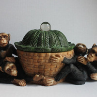 Monkey Canister Bowl Trinket Box with Lid, Vintage 4 Monkeys, Resin Basket Hut Leaf Top Dish