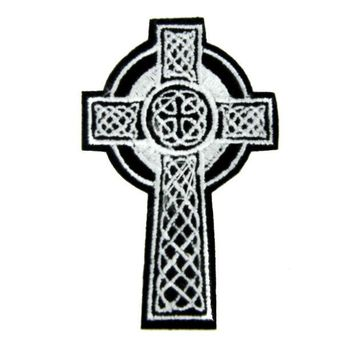 ac spbest Celtic Cross Tombstone Patch Iron on Applique Occult Clothing