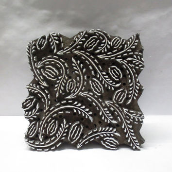 Indian wooden hand carved textile printing on fabric block / stamp ethnic and traditional carving design pattern