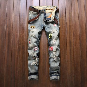 Personality Patchwork Jeans Men Ripped Jeans Fashion Bermuda Biker Jeans Hole Denim Straight Slim Fit Casual Pants