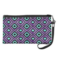 Purple, Black, Teal Zigzag Abstract Print Wristlet
