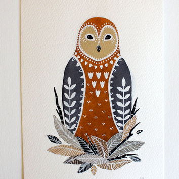Owl Illustration Watercolor Painting - Black Friday Cyber Monday - Large Archival Print - 11x14 Little Owl Paz